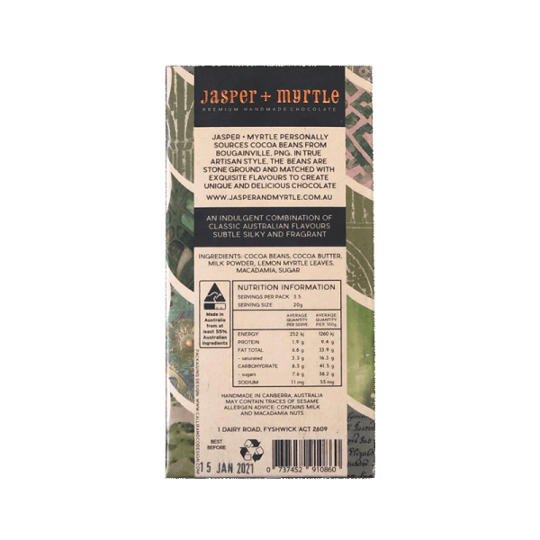 Jasper and Myrtle Lemon Milk ingredients