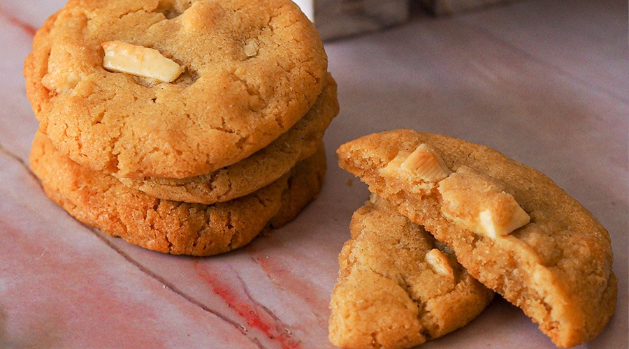 Soft and chewy white chocolate chip cookie